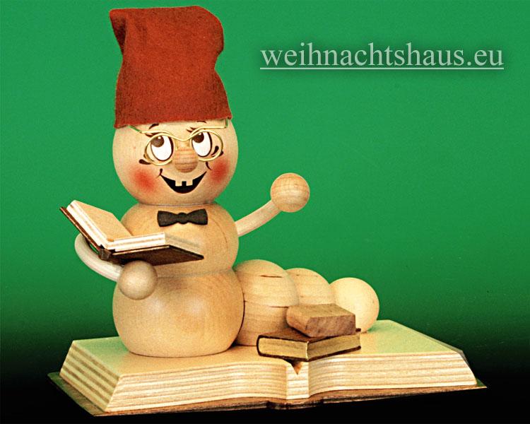 Seiffen Weihnachtshaus - <!--11-->Räuchermann Räucherwurm Erzgebirge Bücherwurm - Bild 1