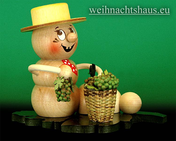 Seiffen Weihnachtshaus - <!--11-->Räuchermann Räucherwurm Erzgebirge Wein-Rudi - Bild 1