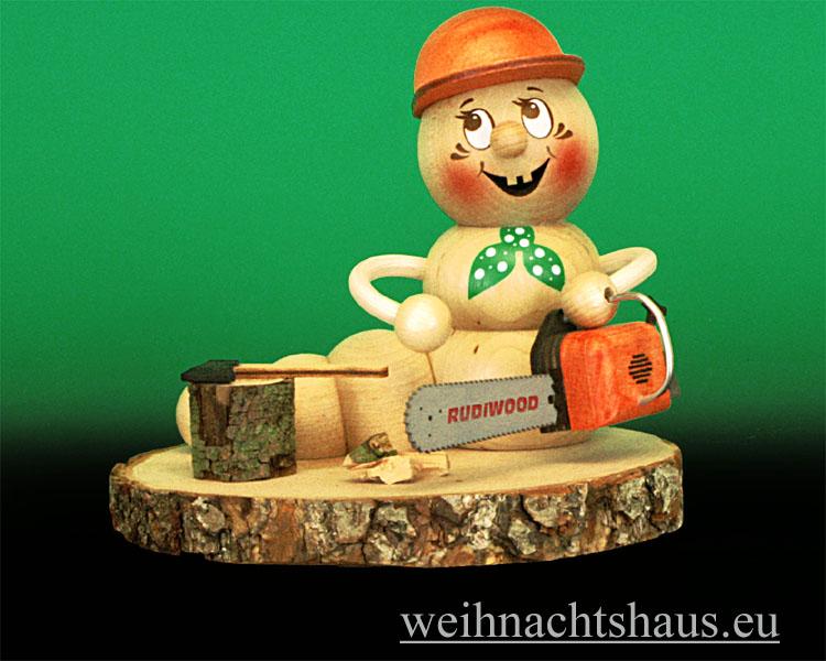Seiffen Weihnachtshaus - <!--11-->Räuchermann Räucherwurm Erzgebirge Holzfäller -Rudi - Bild 1