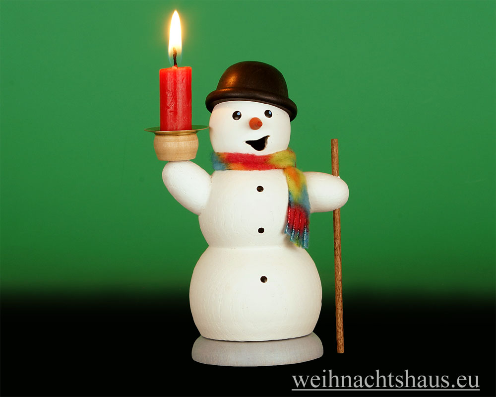 Seiffen Weihnachtshaus - <!--13-->Räuchermann Schneemann mit Kerze - Bild 1