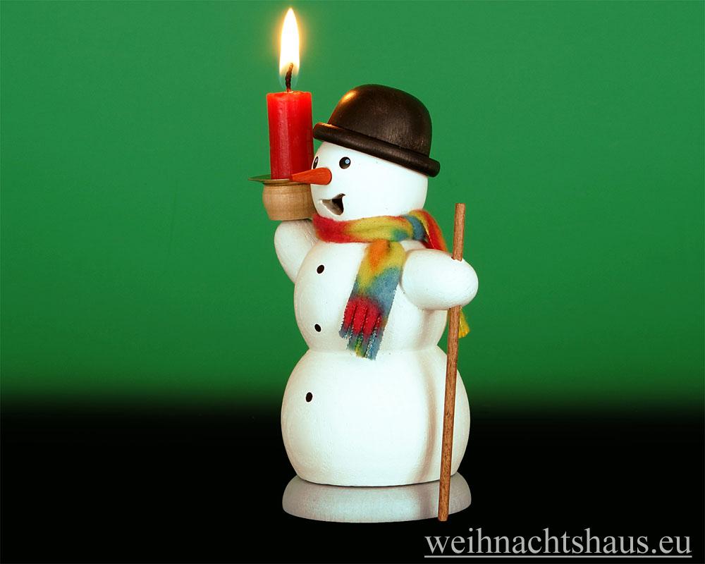 Seiffen Weihnachtshaus - <!--13-->Räuchermann Schneemann mit Kerze - Bild 2