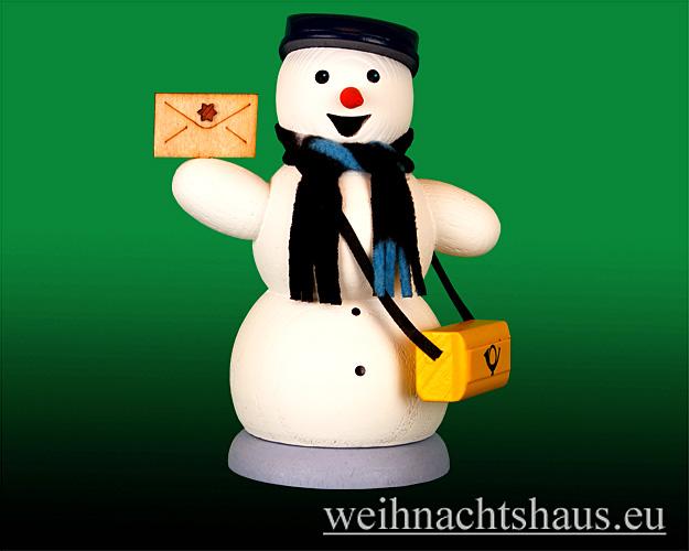 Seiffen Weihnachtshaus - <!--13-->Räuchermann Schneemann Posbote - Bild 1