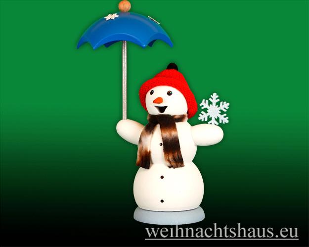 Seiffen Weihnachtshaus - <!--13-->Räuchermann Schneemann mit Schirm - Bild 1