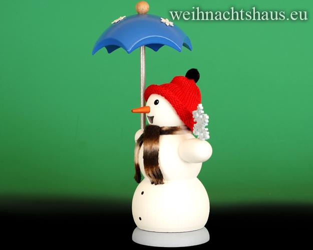 Seiffen Weihnachtshaus - <!--13-->Räuchermann Schneemann mit Schirm - Bild 2