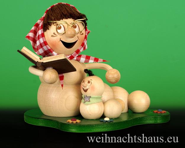 Oma mit Enkelkind Figur  Omas Enkelkinder Omakinder Figuren aus Holz  Räuchermann Räucherwurm Erzgebirge Omakinder  Holzfiguren erzgebirgische  Omafiguren