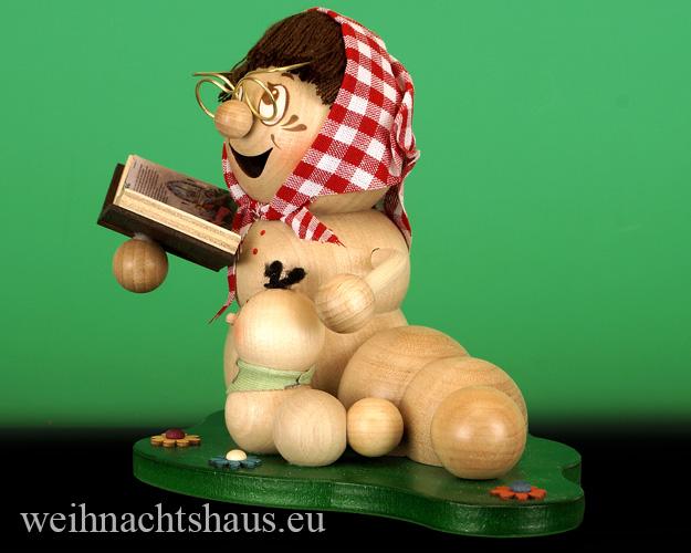 Oma mit Enkelkind Figur aus Holz Omas Enkeln Enkelkinder Holzfiguren erzgebirgische Omafigur lustig Räuchermann Räucherwurm Erzgebirge