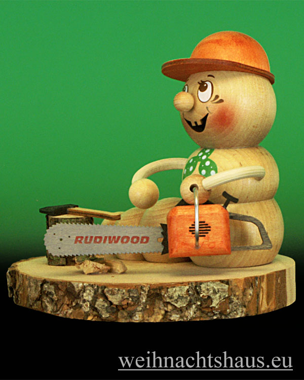 Seiffen Weihnachtshaus - <!--11-->Räuchermann Räucherwurm Erzgebirge Holzfäller -Rudi - Bild 2