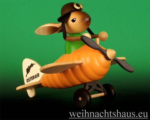 Seiffen Weihnachtshaus - Krummbeinhase Junge im Möhrenflieger - Bild 1