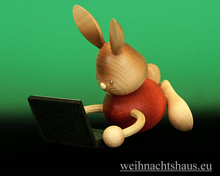 Seiffen Weihnachtshaus - Stupsi mit Laptop - Bild 1