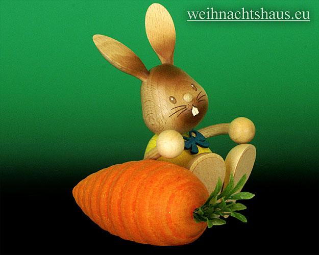 Seiffen Weihnachtshaus - Stupsi der Hase mit Möhre - Bild 2