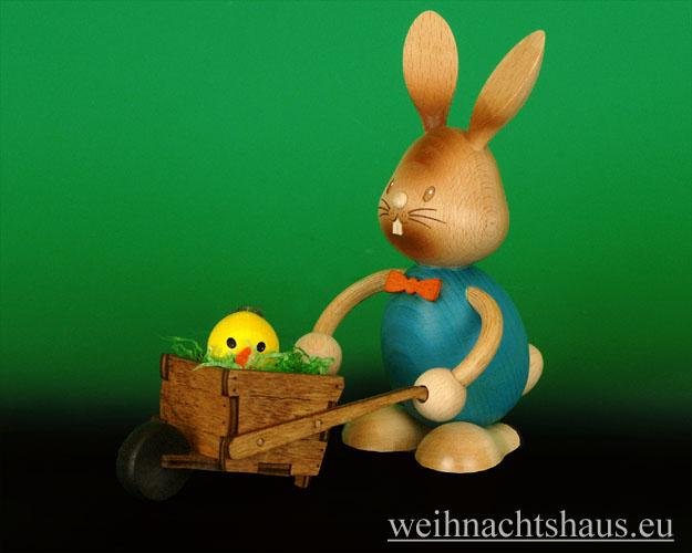 Seiffen Weihnachtshaus - Stupsi der Hase mit Schubkarre - Bild 1