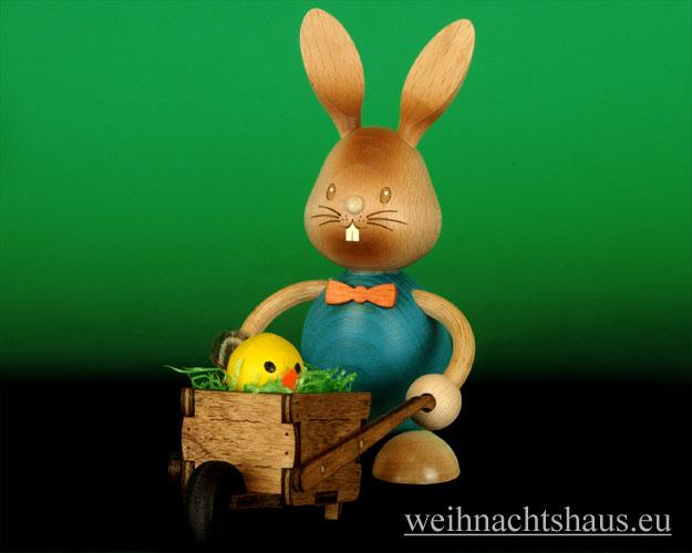 Seiffen Weihnachtshaus - Stupsi der Hase mit Schubkarre - Bild 2