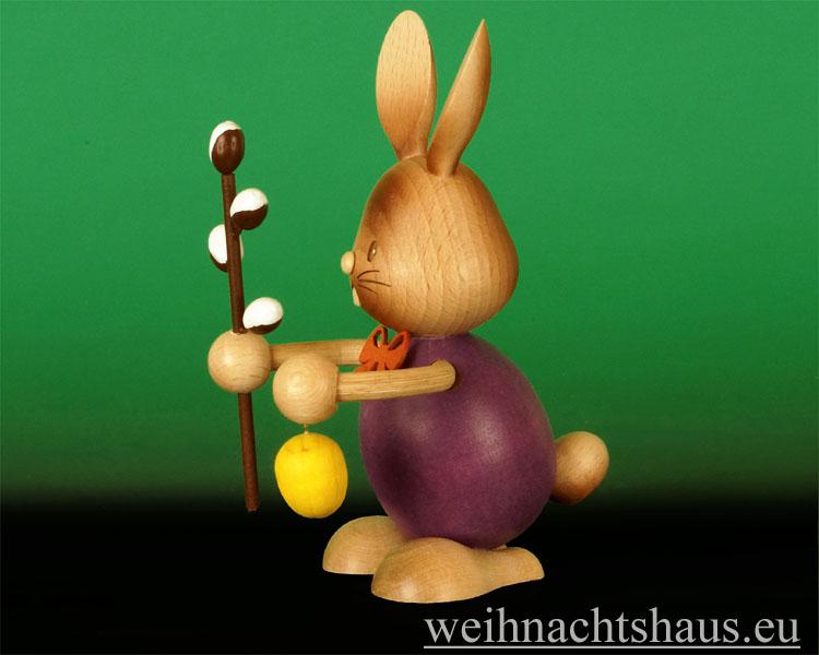 Seiffen Weihnachtshaus - Stupsi  mit Weidenkätzchen Osterhase Kuhnert - Bild 2