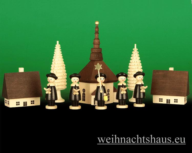 Seiffen Weihnachtshaus - Seiffener-Kirche mit Kurrende Erzgebirge dunkel 10tlg - Bild 1