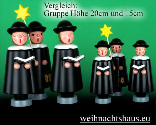 Seiffen Weihnachtshaus - Kurrendesänger 20cm schwarz mit Stern - Bild 3