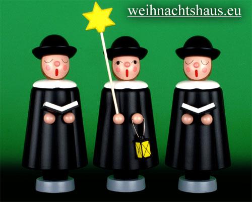 Seiffen Weihnachtshaus - Kurrendesänger 20cm schwarz mit Stern - Bild 2