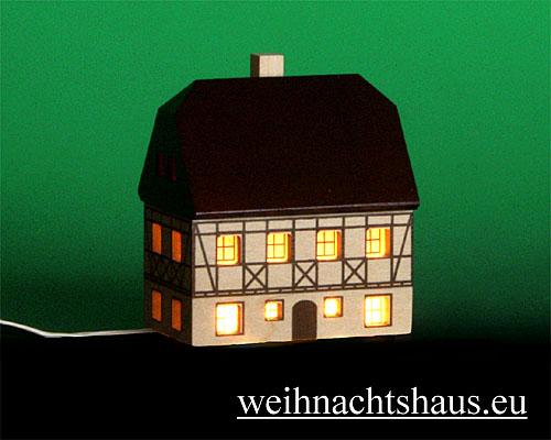 Seiffen Weihnachtshaus - Fachwerkhaus zum Beleuchten 7 cm dunkel - Bild 1