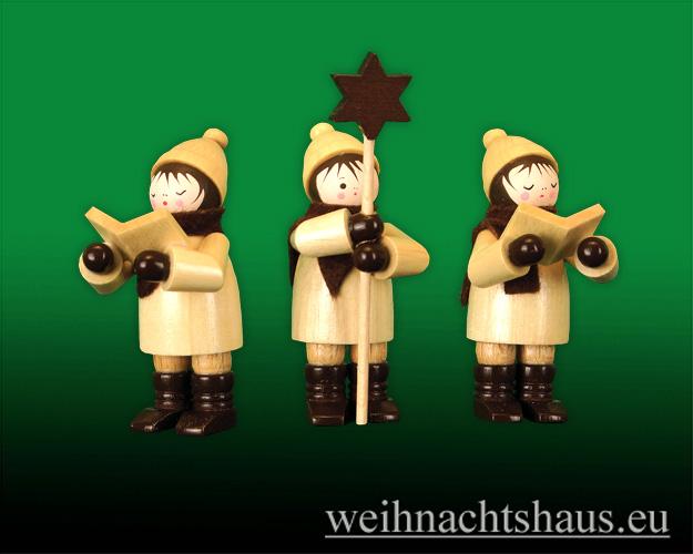 Seiffen Weihnachtshaus - Erzgebirge Winterkinder natur Kurrendesänger 3 teilig - Bild 1