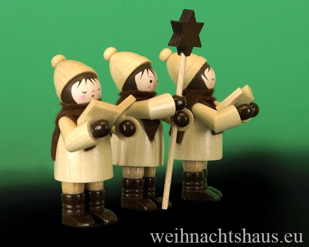 Seiffen Weihnachtshaus - Erzgebirge Winterkinder natur Kurrendesänger 3 teilig - Bild 2