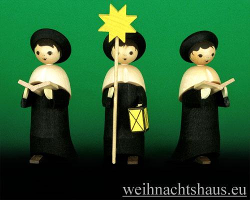 Seiffen Weihnachtshaus - Kurrendesänger schwarz lasiert mit Stern - Bild 2