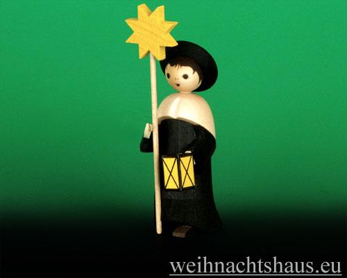 Seiffen Weihnachtshaus - Kurrendesänger schwarz lasiert mit Stern - Bild 1