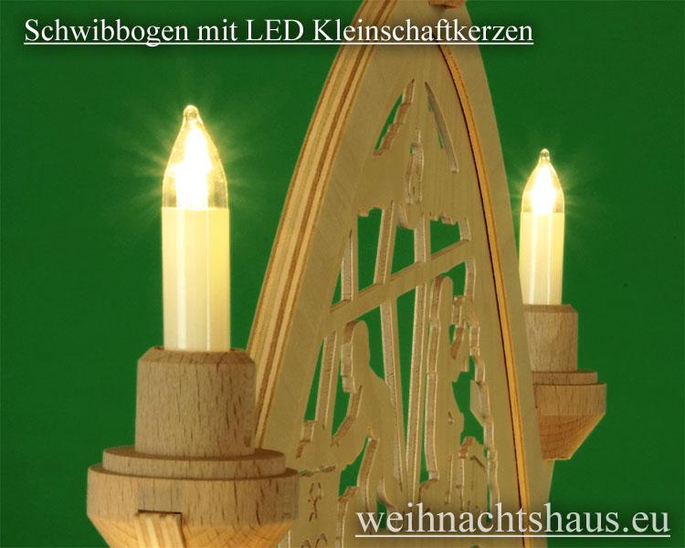 Seiffen Weihnachtshaus - Kleinschaftkerze  LED Lampe E10 für Schwibbögen und Lichterketten - Bild 3