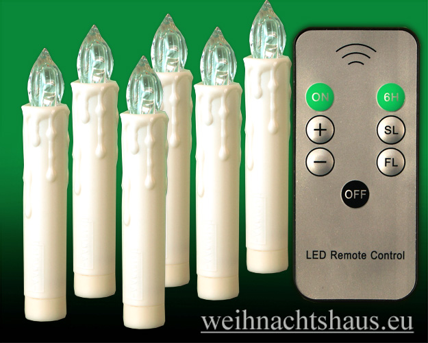 Seiffen Weihnachtshaus - .LED Batteriekerzen 6 Kerzen-Set mit Fernbedienung - Bild 1