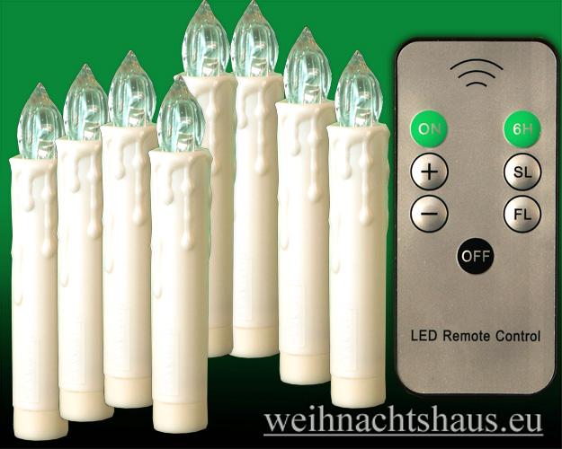 Seiffen Weihnachtshaus - .LED Batteriekerzen 12 Kerzen-Set mit Fernbedienung - Bild 1