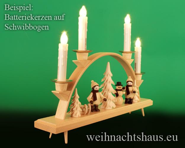 Seiffen Weihnachtshaus - .LED Batteriekerzen 4 Kerzen-Set mit Fernbedienung - Bild 2