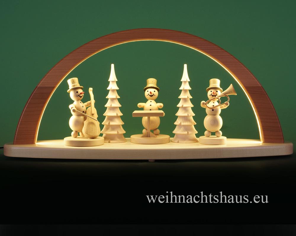 Seiffen Weihnachtshaus - Schwibbogen modern mit Schneemänner 51cm (LED Schwibbogen) - Bild 3