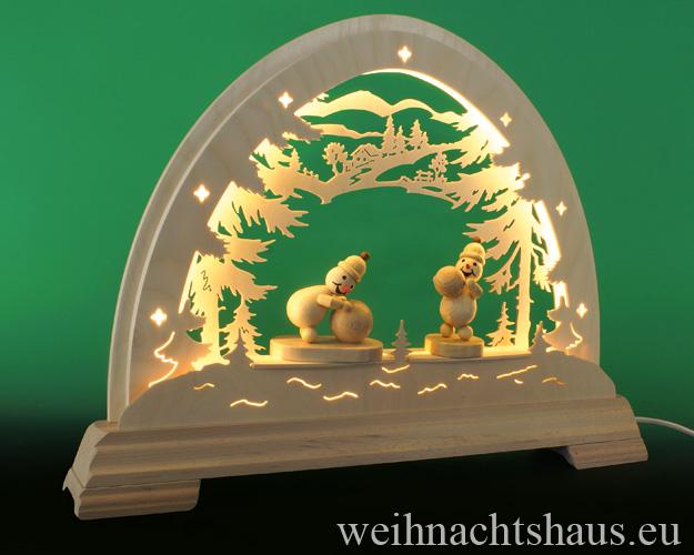 Seiffen Weihnachtshaus - Schwibbogen  ohne Figuren leer Wald 48cm LED - Bild 3