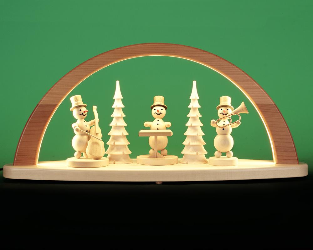 Seiffen Weihnachtshaus - Schwibbogen modern mit Schneemänner 51cm (LED Schwibbogen) - Bild 1
