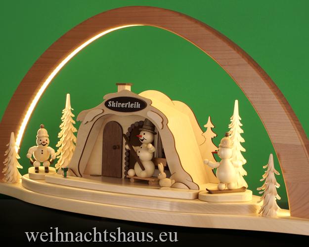 Seiffen Weihnachtshaus - Schwibbogen modern groß LED mit Skihütte 72cm (LED Schwibbogen) - Bild 2