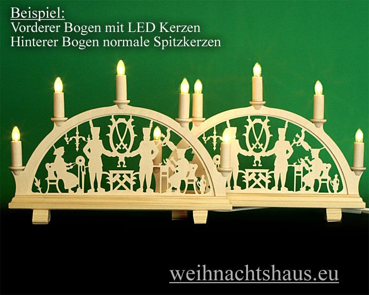 Seiffen Weihnachtshaus - Spitzkerze  LED Lampe E10 für Schwibbögen und Lichterketten - Bild 2