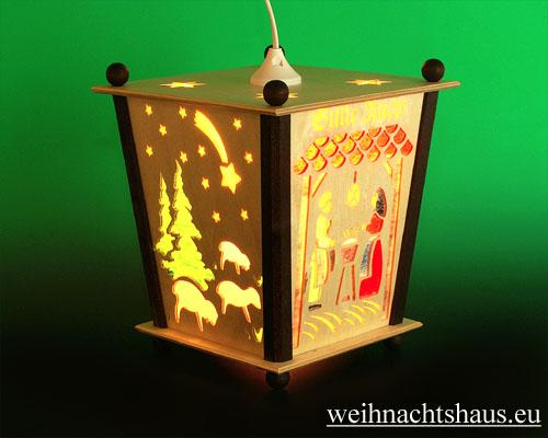 Seiffen Weihnachtshaus - Hängelaterne 4 seitig groß Geburt - Bild 1