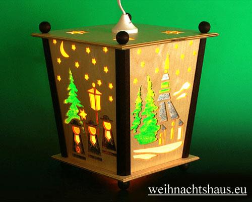 Seiffen Weihnachtshaus - Hängelaterne 4 seitig groß Seiffener Kirche - Bild 1