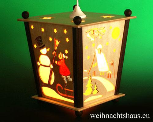 Seiffen Weihnachtshaus - Hängelaterne 4 seitig groß Weihnachtsmann - Bild 2