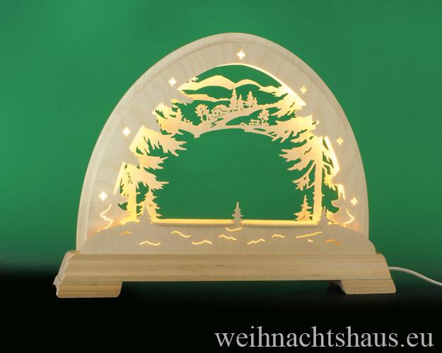 Seiffen Weihnachtshaus - Schwibbogen  ohne Figuren leer Wald 48cm LED - Bild 1