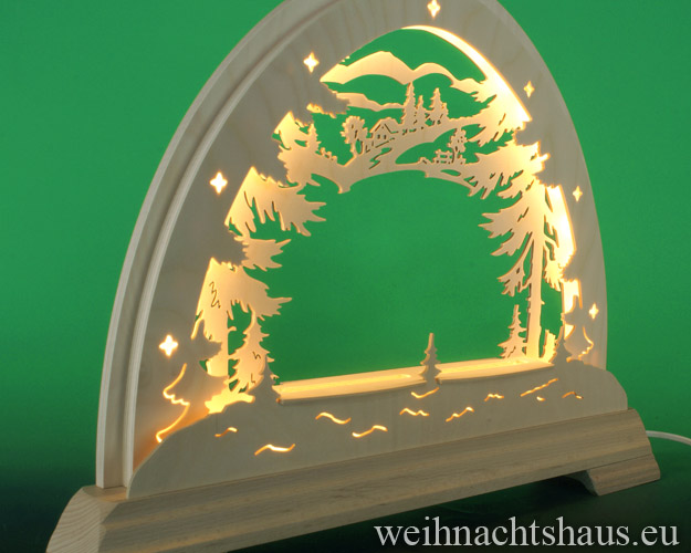 Seiffen Weihnachtshaus - Schwibbogen  ohne Figuren leer Wald 48cm LED - Bild 2
