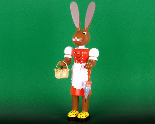 Seiffen Weihnachtshaus - Langohrhase 42cm farbig Frau rot - Bild 1