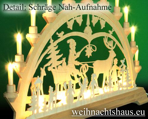 Seiffen Weihnachtshaus - Schwibbogen 16 Kerzen Weihnachtsland 63 cm - Bild 2