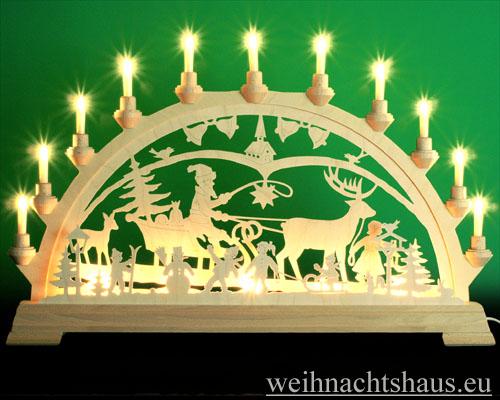 Seiffen Weihnachtshaus - Schwibbogen 16 Kerzen Weihnachtsland 63 cm - Bild 1