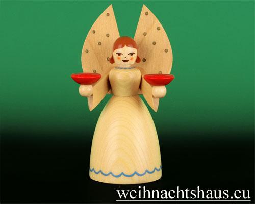 Seiffen Weihnachtshaus - Barockengel- Erzgebirge Engel natur mittel - Bild 1