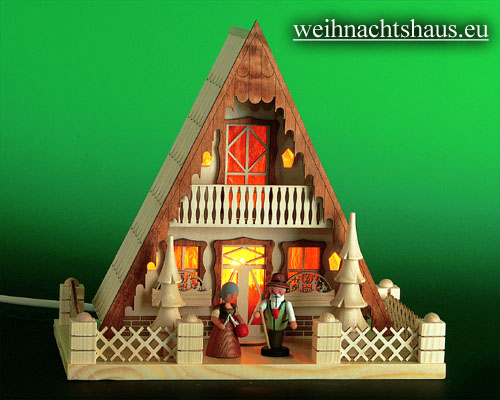 Seiffen Weihnachtshaus - Lichterhaus Finnhütte mit Figuren - Bild 1