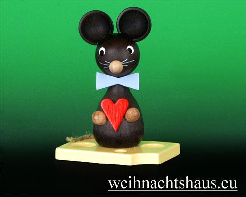 Seiffen Weihnachtshaus - Maus mit Herz - Bild 1