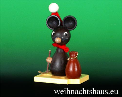 Seiffen Weihnachtshaus - Maus mit Weihnachtsmannmütze - Bild 1