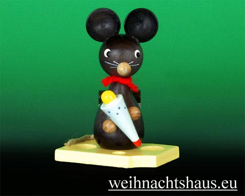 Seiffen Weihnachtshaus - Maus mit Zuckertüte - Bild 1