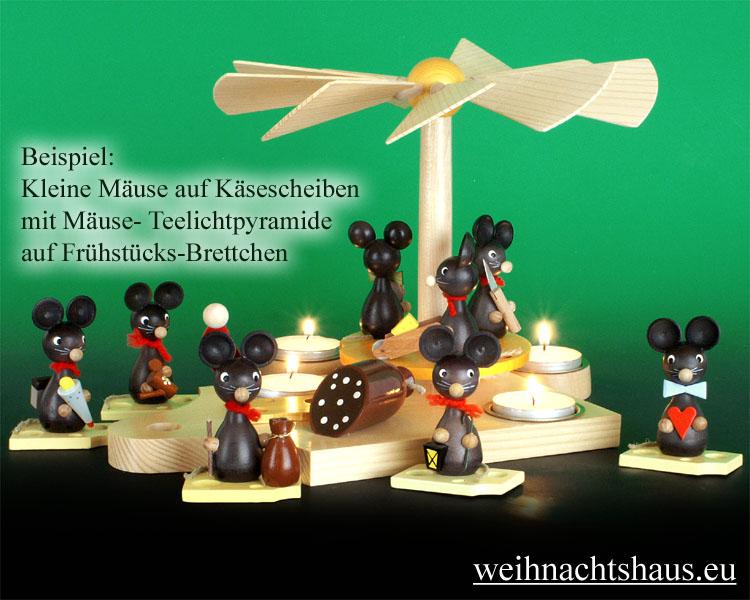 Seiffen Weihnachtshaus - Maus mit Zuckertüte - Bild 2