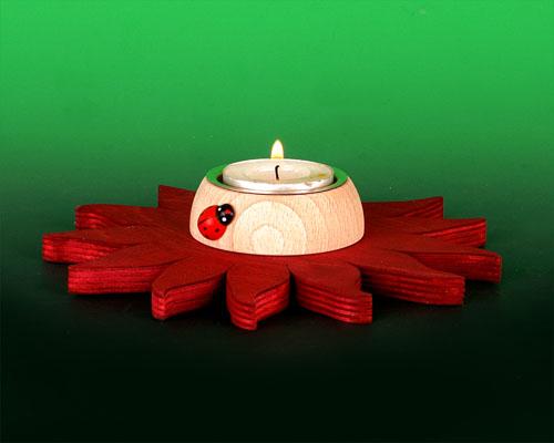 Seiffen Weihnachtshaus -  Teelichtleuchter Blume rot - Bild 1