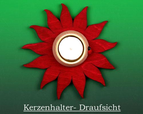 Seiffen Weihnachtshaus -  Teelichtleuchter Blume rot - Bild 2